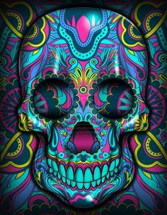 Skull - La Vengadora by Jpeay on deviantART Candy Skulls, Sugar Skulls, Sugar Skull Artwork, Sugar Skull Painting, Skull Pictures, Skull Wallpaper, Day Of The Dead Skull, Sugar Skull Tattoos, Skulls And Roses