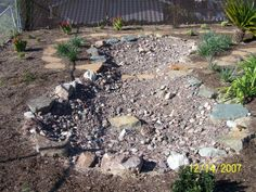 Dry Pond/River for front sandy area.