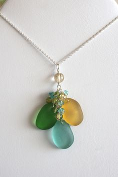 Sea Glass Jewelry Yellow Kelly Green Aqua by OceanCharmsSeaGlass, $46.00