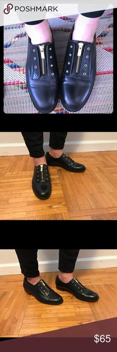 Carmen Marc Valvo black zipper Oxford shoes Carmen Marc Valvo black zipper Oxford shoes. Worn 3-4 times. Box included. So cute with skinny ankle pants. Leather. Carmen Marc Valvo Shoes Flats & Loafers