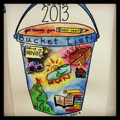 Students make a bucket list for summer as an end of the year art activity. Sharpie + water colors. Miss Ward's Studious Second Graders!