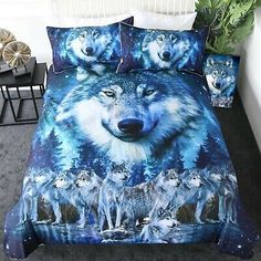 Double, Wolf Wolf Animal Design Duvet//Quilt Cover Bedding Set With Pillow Cases By Homefurnishing by Homefurnishing Horse Tiger Dolphin