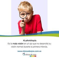 """#SabíasQue La ambliopía es la mala visión en un ojo que no desarrolla su visión normal durante la infancia. Ocasionalmente, es llamada """"ojo perezoso"""""""