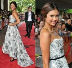 Nina Dobrev is so feminine in this beautiful long textured white gown
