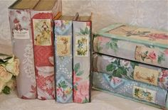 The Polka Dot Closet: Vintage Wallpaper Covered Book Boxes MERGE wallpaper and image into one before printing. Images from Graphics Fairy.