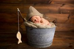 Newborn Burlap Paper Hat Style Hat with Fishing Pole by Beckwoods
