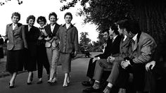 Teddy Boys admiring the view on Clapham Common in 1954, a year after the infamous Teddy Boy Murder.