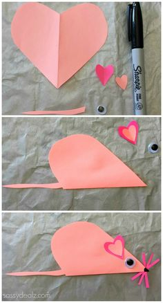 Folded Heart Mouse Craft For Kids