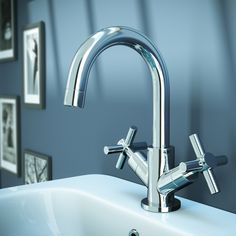 Pablo Modern Basin Mixer with Click Clack Waste - Chrome at Victorian Plumbing UK Bath Taps, Bathroom Taps, Modern Bathroom, Bathrooms, Kitchen Sink Design, Pipe Sizes, Modern Baths, Basin Mixer Taps, Chrome Finish