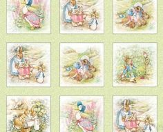 "Beatrix Potter Fabric Peter Rabbit Quilt blocks 4"" Sage, quilt material someday"