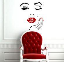 Salón de belleza cara de la muchacha mano con uñas de manicura labios tatuajes de pared de vinilo pegatinas de pared Interior decoración para el hogar , arte de murales etiqueta engomada(China (Mainland))