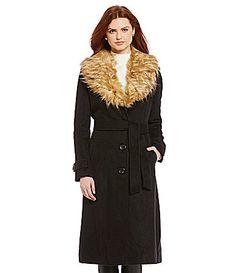 Steve Madden Angora Wool Maxi FauxFur Collar Coat #Dillards