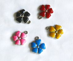Enamel Flower Charms  Red  Pink  Black  Blue  Bright by marykerran, $6.00