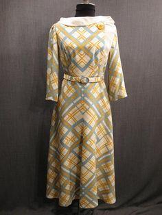 09032330 09035498 Dress Womens 1930s yellow sage plaid silk jersey B34 W28.JPG
