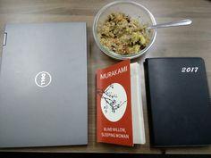 #Veganchallenge begins soon. #Quinoa + #veggies + #goodbook = #lunchtime