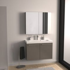 Leroy Merlin Env 250 Euros / Meuble de salle de bains Remix brun taupe n°3 61x35.5cm, 2 portes