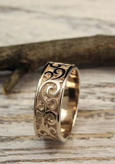 Mens wedding band with monograms Unique mens wedding ring wedding band Wide mens ring solid yellow gold ring Gift for groom Wedding Ring Finger, Cheap Wedding Rings, Wedding Rings Rose Gold, Bridal Rings, 14 Carat, Carat Gold, Wedding Men, Wedding Bands, Trendy Wedding