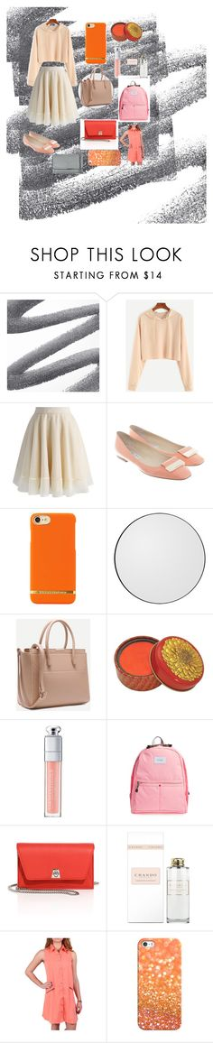 """""""Apricot and Grey"""" by graceferge ❤ liked on Polyvore featuring Chicwish, Jimmy Choo, Christian Dior, STATE Bags, Akris, Simply Noelle, Casetify and STELLA McCARTNEY"""