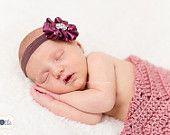 Plum Headband - Baby Flower Headband - Hand Sewn Baby Headband - Purple Headband - Vintage Inspired