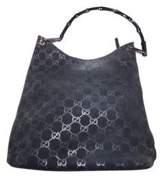 a299ddc5508d Gucci Purse Black Suede Body/Leather Accents and Embossed Large G Print &  Bamboo Hobo