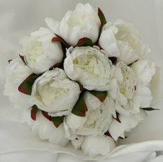 SILK WEDDING BOUQUETS SHABBY ROSE FLOWER WHITE PEONIE PEONY BOUQUET POSY FLOWERS