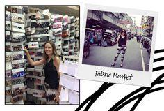 Touring the fabric markets in Hong Kong.