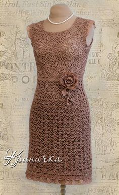 Have you made yourself a crochet dress before? Crochet dresses can be fun and flirty, or prim and proper, at any age! We're turning the heat up on our style for the warmer months with a cool collection of crochet dresses. Crochet Skirts, Crochet Blouse, Crochet Clothes, Knit Dress, Beau Crochet, Mode Crochet, Crochet Lace, Crochet Stitch, Crochet Vintage