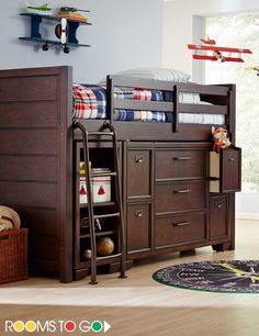 Stylish slumber is easily achieved with the Clubhouse twin Jr. loft bed. Designed for durability, it's made with pine solids and ash veneers with a rich chocolate finish.