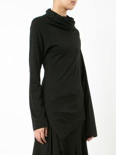 Yohji Yamamoto 'Black Black' print asymmetric T-shirt