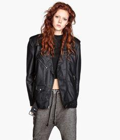 leather oversized jacket Product Detail | H&M US