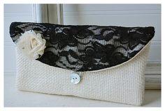 Personalize Bridesmaid burlap clutch purse bag black by hoganfe, 19.00