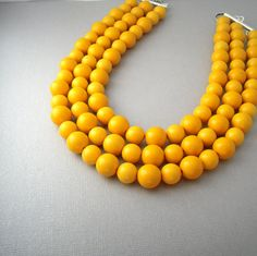 Yellow Statement Necklace, Chunky Multi Strand Bead Necklace, Mustard Yellow Necklace, Beaded Choker Necklace, Statement Necklaces Under 50 by urbandwellers on Etsy