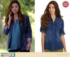 Elena's denim shirt on The Vampire Diaries.  Outfit Details: http://wornontv.net/38989/ #TheVampireDiaries