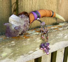 SWEET DREAMS Wand with Amethyst, Spirit Quartz, Pearls, Deer antler tine