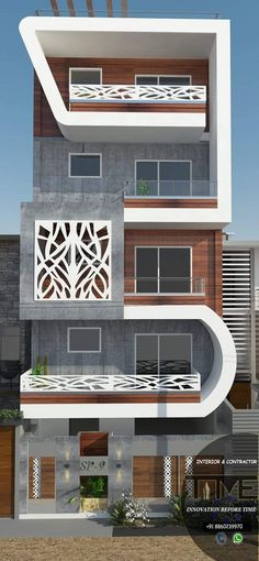 This idea can be used for a rectangular building front elevation 2 Bungalow House Design, House Front Design, Modern House Design, House Elevation, Building Elevation, Front Elevation, Building Design, Building Front, Narrow House Designs