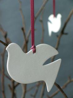 peace dove ornament. Salt dough. Advent extravaganza  Cute for making Chrismons