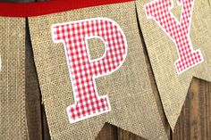 COWBOY COWGIRL GINGHAM FARM FIRST BIRTHDAY PARTY DECORATIONS COUNTRY PICNIC BURLAP HAPPY BIRTHDAY BANNER PHOTO PROP RED FABRIC BURLAP #babyshowerideas4u #birthdayparty #babyshowerdecorations #bridalshower #bridalshowerideas #babyshowergames #bridalshowergame #bridalshowerfavors #bridalshowercakes #babyshowerfavors #babyshowercakes