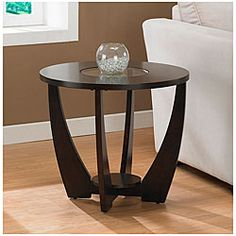 @Overstock - A stylish tempered glass insert and rich espresso finish highlight this Archer end table. This table features non-mar foot glides and a storage shelf.http://www.overstock.com/Home-Garden/Archer-Espresso-End-Table-with-Shelf/5230238/product.html?CID=214117 $129.99