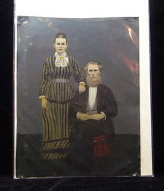 Victorian TinType LARGE Full Plate Era Painted Folk Art Tintype - Older Couple Hand tinted Hand Pinted Victorian Tin photographs
