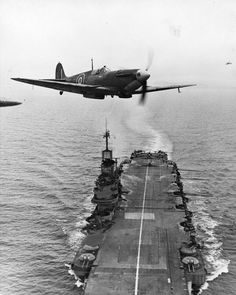 Spitfire on aircraft carrier HMS Indomitable More