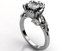 Platinum diamond unusual unique flower engagement ring by Jewelice, $1850.00