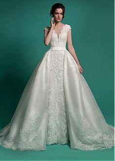 184e747989 Buy discount Marvelous Lace V-neck Neckline 2 in 1 Wedding Dresses at  Dressilyme.