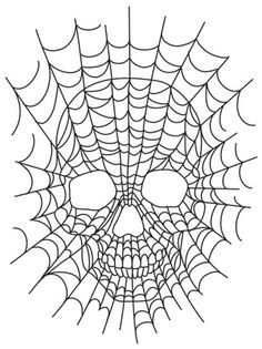 Spider Web Skeleton * Hand Embroidery DIY Inspiration * Vintage Spooky Style Halloween Quilt Square * Embroidery Project, Quilt Block or Paper Piecing