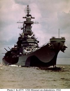USS Missouri - Iowa-class battleship 45,000 tons - 11 June 1944 decommissioned 1955, recommissioned 1984, decommissioned 1992; museum Pearl Harbor, Hawaii