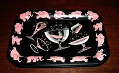 Vintage Pink Elephants Dancing Tipsy Cocktail by ClassicMemories, $28.00