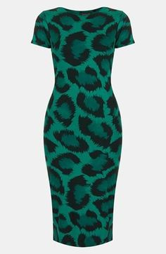 Emerald green leopard print dress