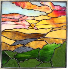 """Stained Glass Panel Window Sunrise Sunset """"Inspiration"""" Gifts in Recovery Inspirational Panel Made in Hawaii Deesigns by Harris"""