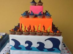 Cute Shark Boy and Lava Girl cupcakes 4th Birthday Parties, Birthday Ideas, 5th Birthday, Sharkboy And Lavagirl, Girls Party Decorations, Cupcake Flavors, Beautiful Cupcakes, Girl Cupcakes, Bday Girl