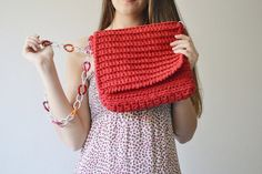 Messenger bag Boho bag Red crochet bag for woman by Notforeat, €35.00