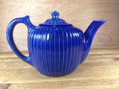 Fraunfelter China of Zanesville Ohio Dark Blue Ribbed Tea Pot Ships Fast